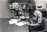 WCC Board of Trustees former Chair Catharine Stimpson signing negotiated WCCFT agreement on September 22, 1983